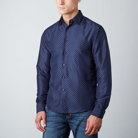 Ashton Polkadot Button-Up // Navy (S)