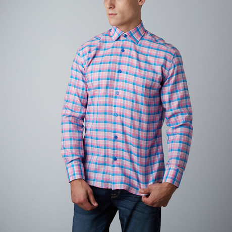 Dan Plaid Button-Up Shirt // Pink + Blue