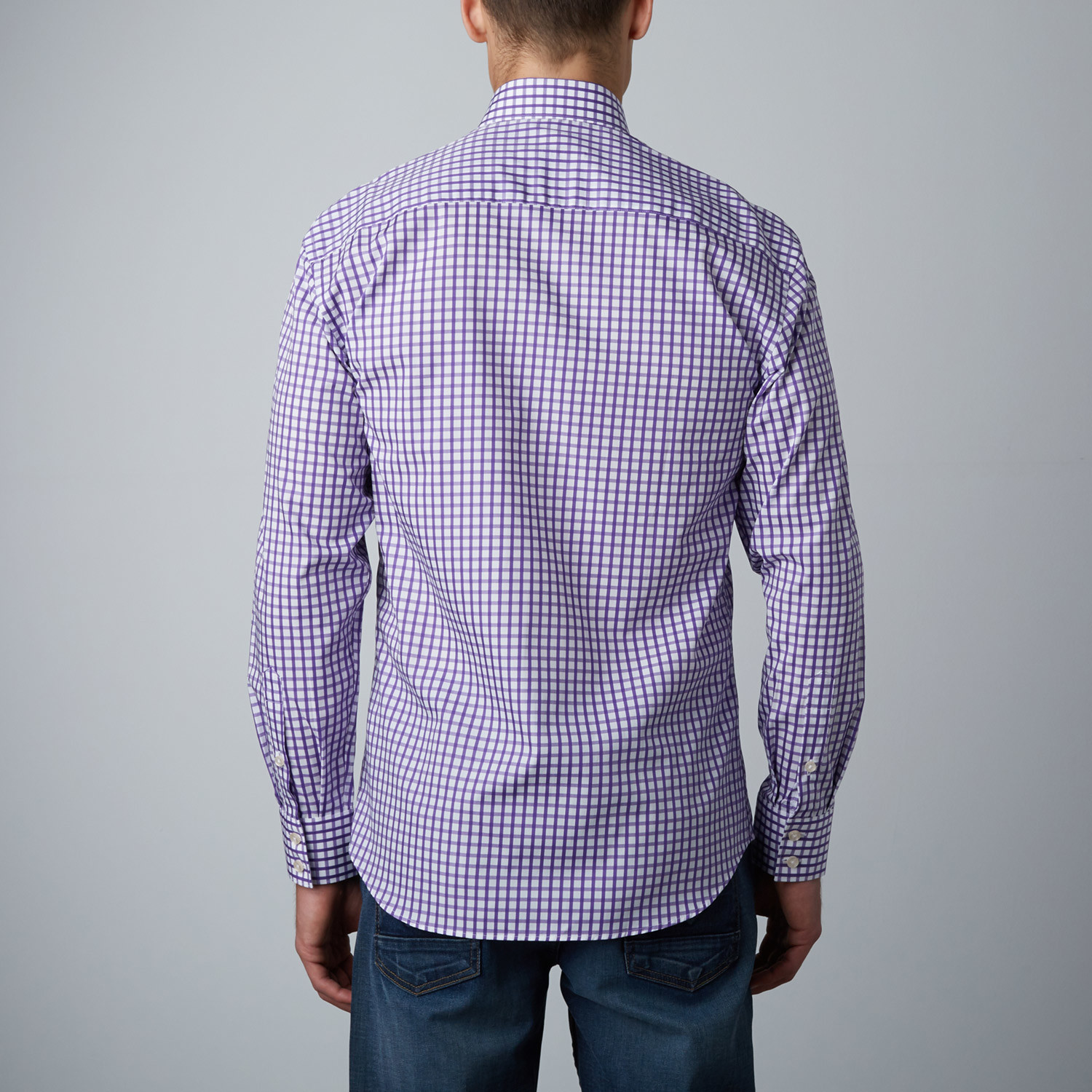 Donald gingham button up shirt purple white xs for Purple and white checked shirt