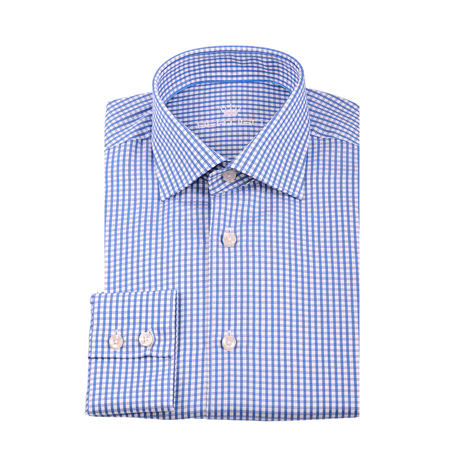 Karl button up shirt tiny navy blue gingham on white for Navy blue gingham shirt