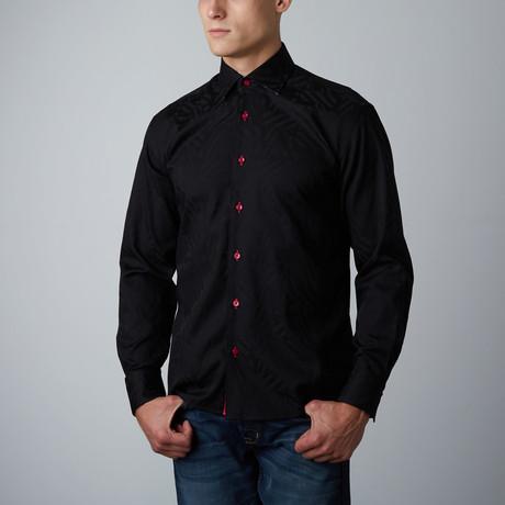 Moreti Abstract Tonal Button-Up Shirt // Black