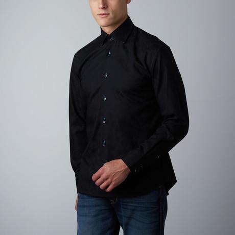 Mori Tonal Florals Button-Up Shirt // Black