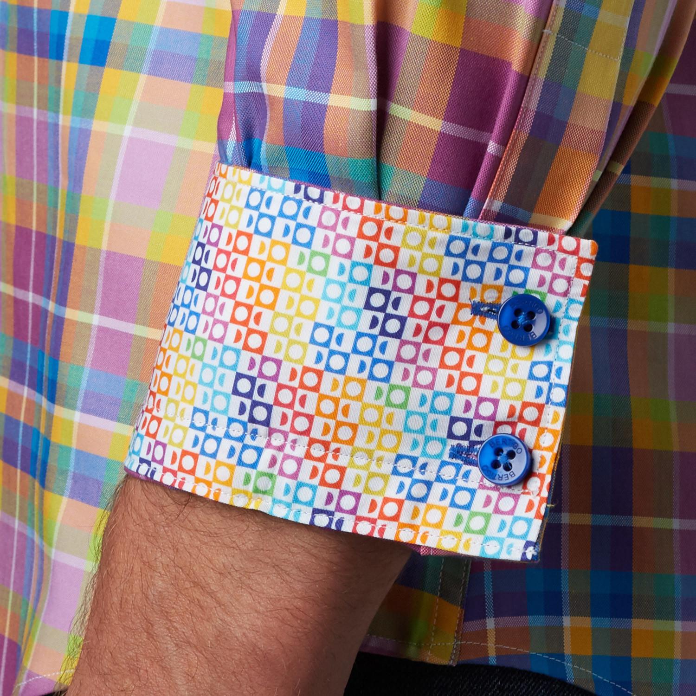 Nilo plaid button up shirt purple xs bertigo for Purple plaid button up shirt