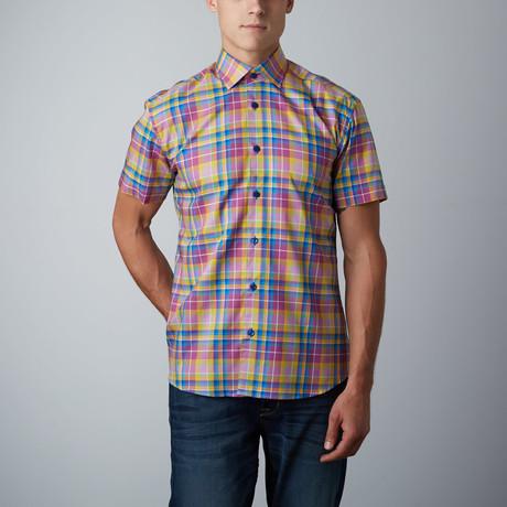 Vike Short-Sleeve Plaid Button-Up Shirt // Purple