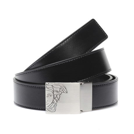 Engraved Medusa Buckle Belt // Black