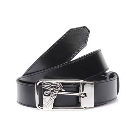 Versace Collection // Negative Space Medusa Buckle Belt // Black