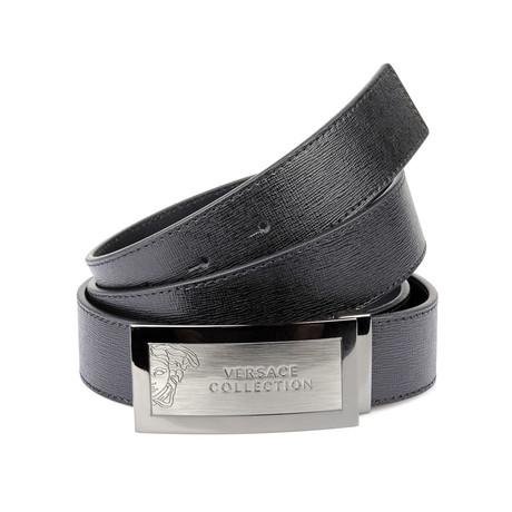 Engraved Brushed Metal Buckle Saffiano Leather Belt // Black