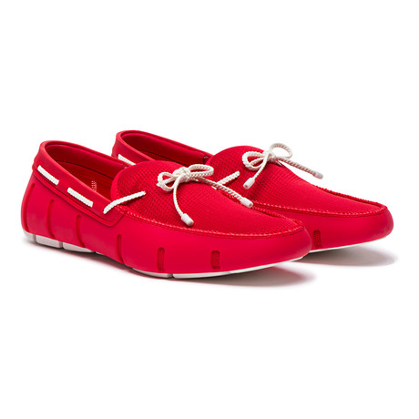 Braided Lace Loafer // Red + White (US: 7)