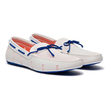 Braided Lace Loafer // White + Blue