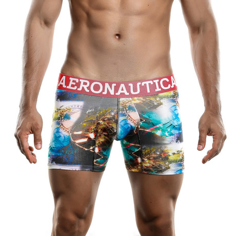 Plane Printed Boxer Short // Green