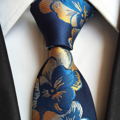 Handmade Tie // Gold + Navy Blue Floral