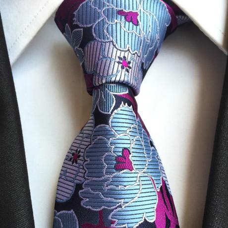 Handmade Silk Tie // Blue Floral