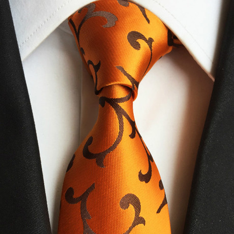 Handmade Silk Tie // Orange Floral
