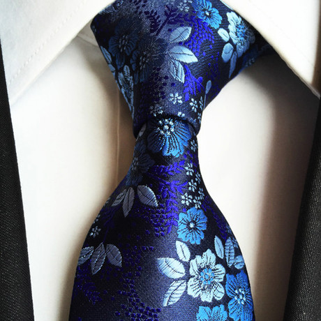 Handmade Silk Tie // Navy + Blue Floral