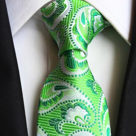 Handmade Tie // Green Paisley