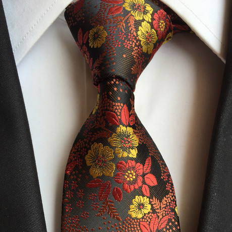 Handmade Tie // Yellow + Red Floral