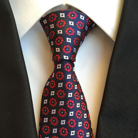 Handmade Tie // Red Floral Black