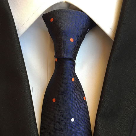 Handmade Tie // Navy Blue Dot