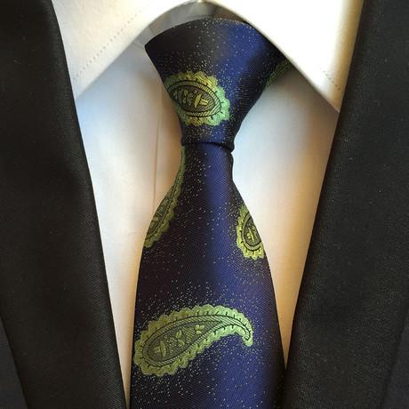 Handmade Tie // Blue + Green Paisley