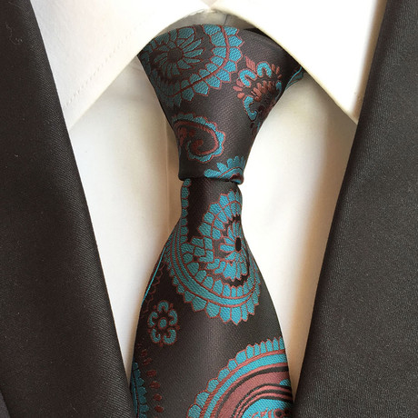Handmade Tie // Brown + Blue Paisley