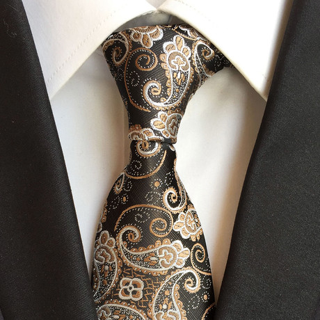Handmade Tie // Light Brown Paisley