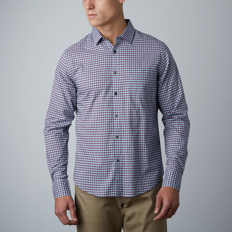 Long-Sleeve Mini Gingham Shirt // Blue