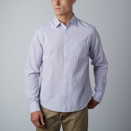 Long-Sleeve Linen-Textured Shirt // Purple