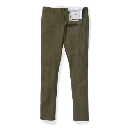 Wickham Slim Linen Chinos // Forest Green