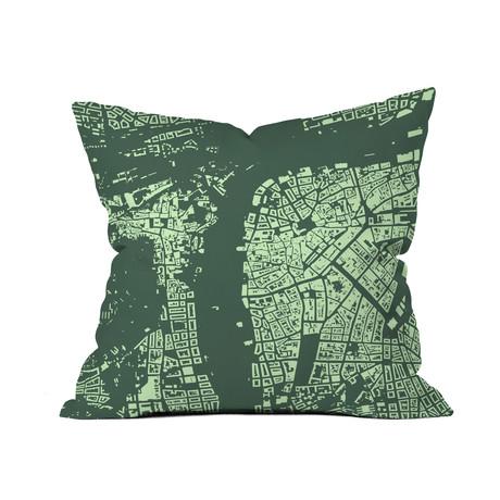 Prague // Throw Pillow // Green