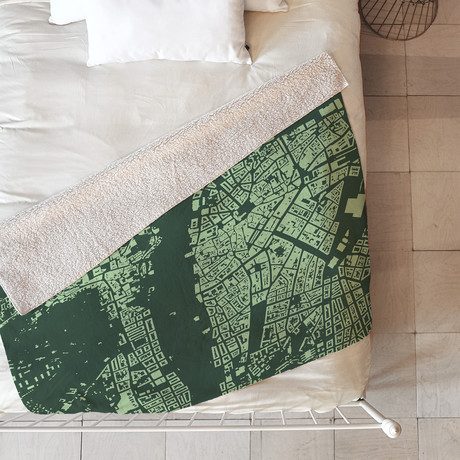 Prague // Fleece Thow Blanket // Green