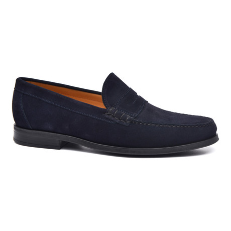Suede Penny Loafer // Blue