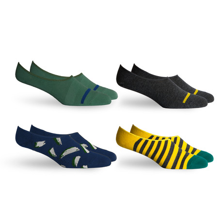 Chad + Theo No Show Socks // Grey + Navy + Yellow // Pack of 4