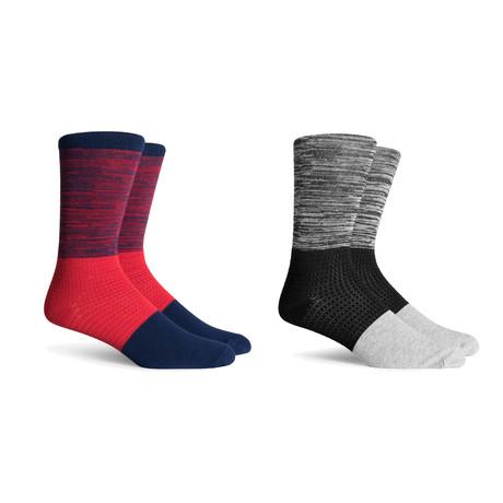 Crew Socks // Navy + Hether Grey // Pack of 2