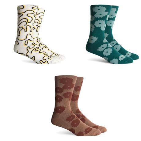 Blossom Drifter Crew Socks // Green + Brown + Cream // Pack of 3