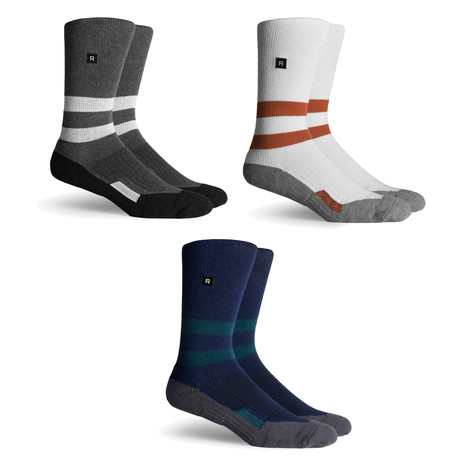 Leon Athletic Compression Socks // White + Navy + Charcoal // Pack of 3
