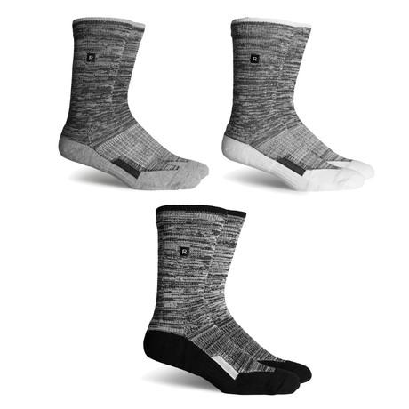Athletic Compression Socks // White + Grey + Black // Pack of 3
