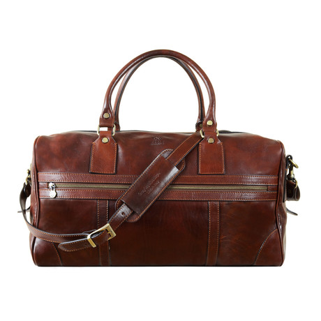 To The Lighthouse Leather Small Duffel Bag // Brown
