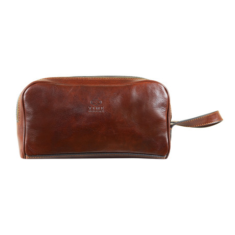 All The Kings Men Leather Cosmetic Bag // Brown