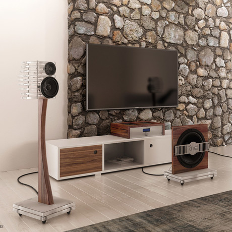 TÔMEI Loudspeaker System // Crystal Clear + Brown