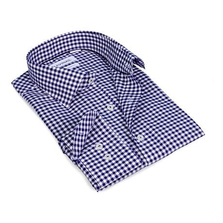 Gingham Button-Up Shirt // Navy