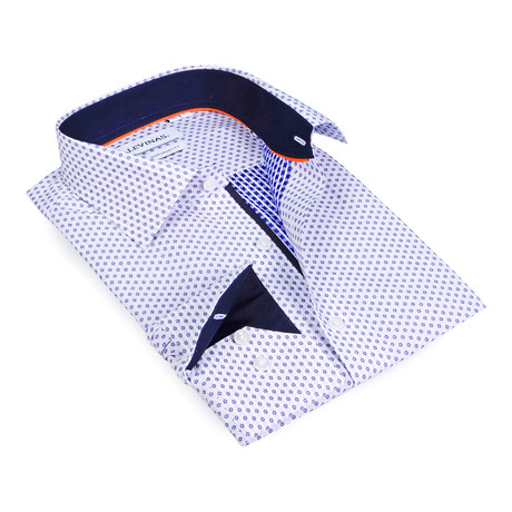 Contrast Collar Snowflake Button-Up Shirt // Navy + White (S)