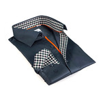 Gingham Collar Solid Button-Up // Navy (S)