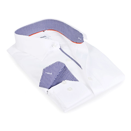 Houndstooth Collar Solid Button-Up // White (S)