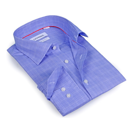 Tonal Plaid Button-Up Shirt // Periwinkle Blue (S)