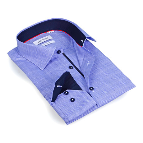 Solid Collar Tonal Plaid Button-Up // Blue (S)