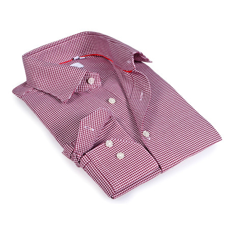 Micro Houndstooth Button-Up Shirt // Red (S)