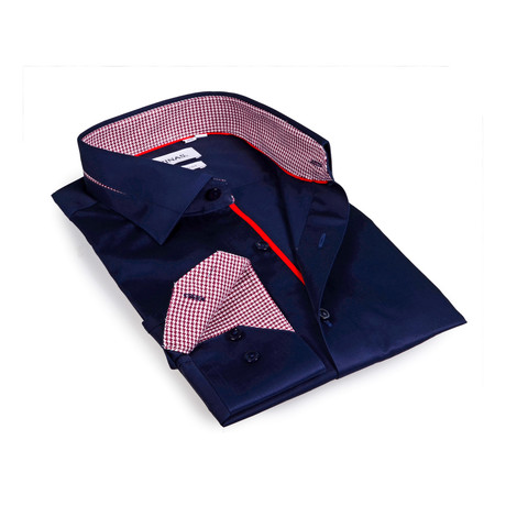 Houndstooth Collar Solid Button-Up Shirt // Navy