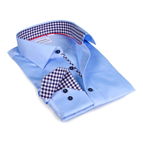 Gingham Collar Solid Button-Up // Light Blue (S)