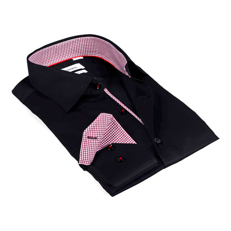 Houndstooth Collar Solid Button-Up Shirt // Black (S)