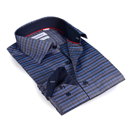 Horizontal Stripe Button-Up Shirt // Charcoal + Blue (S)